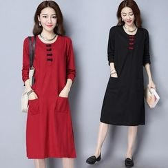 Diosa - Frog Buttoned Long-Sleeve Dress