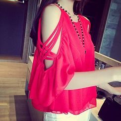 Fashion Street - Shoulder Cut Out Chiffon Top