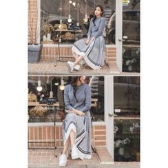 migunstyle - Mock Two-Piece Pattern Dress