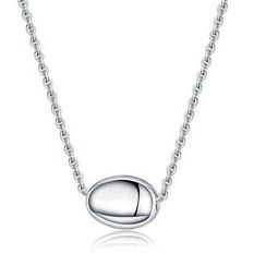 Bling Bling - Bling Bling Platinum Plated 925 Silver Round Oval Bead Necklace