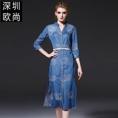 Seagrass - Embroidery Denim Shirtdress