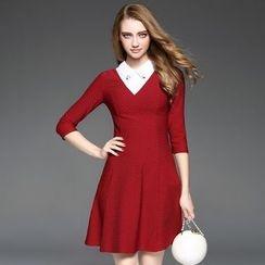 Ozipan - Elbow-Sleeve Paneled A-Line Dress
