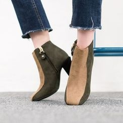VIVIER - Color-Block Zip-Detail Booties