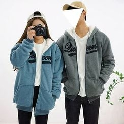 Seoul Homme - Couple Embroidered Fleece Hoodie