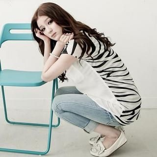 D.P-Shop - Zebra Pattern-Back Chiffon Blouse