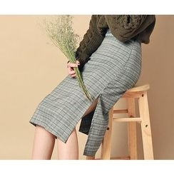HOTPING - Slit-Side Plaid Midi Skirt