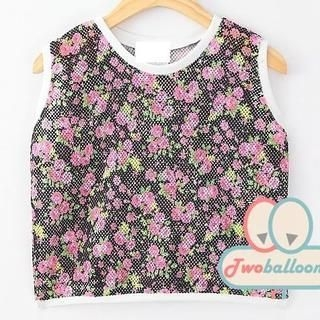 JVL - Perforated Floral Cropped Sleeveless Top