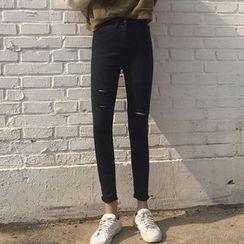 Lokin - High Waist Ripped Skinny Jeans