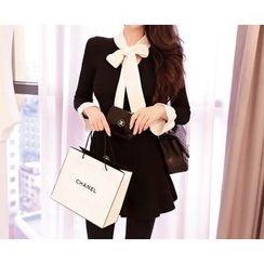 Marlangrouge - Tie-Neck Contrast A-Line Mini Dress