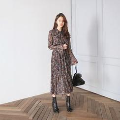 PPGIRL - Tie-Front Floral Print Maxi Dress