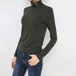 Hello sweety - Turtle-Neck Plain Top