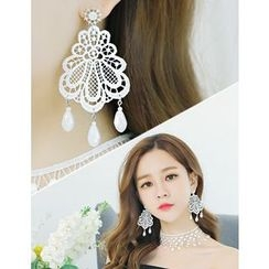 soo n soo - Rhinestone Laced Statement Earrings