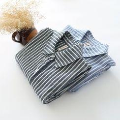 布丁坊 - 條紋麻布襯衫