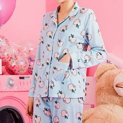 chuu - Pajama Set: Apple Pattern Shirt + Pants + Hair Band
