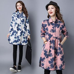 Epoch - Floral Print Collared Long Sleeve Dress