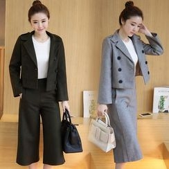 Mandalle - Set: Notch Lapel Double Breasted Coat + Culottes