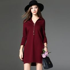 Y:Q - V-Neck 3/4 Sleeve Mini Dress
