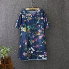 Blue Rose - Floral Print Short Sleeve Denim Dress