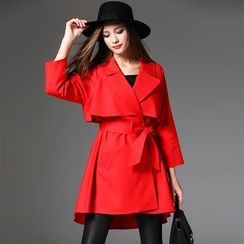 Y:Q - Plain 3/4 Sleeve Trench Coat