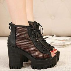 Mancienne - Lace-Up Mesh Sandal Boots
