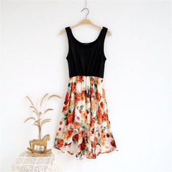 Janseed - Sleeveless Floral Chiffon Dress