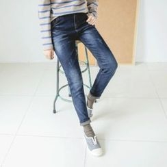 JUSTONE - Brushed-Fleece Lined Washed Tapered Jeans