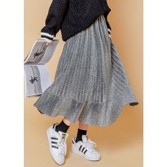J-ANN - Glittered Pleat Long Skirt