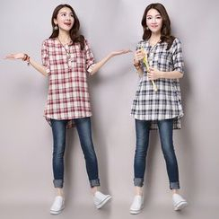 Salisha - Plaid Elbow-Sleeve Half-Placket Long Shirt