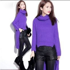 Tang House - Turtleneck Dip Back Knit Top