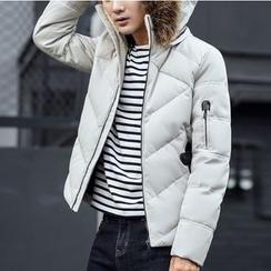Bay Go Mall - Furry Trim Down Coat