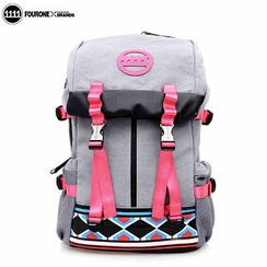 Fourone - Contrast-Color Printed Canvas Backpack