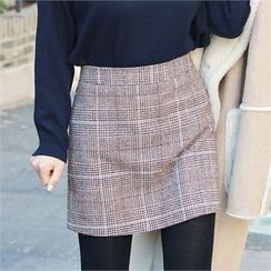 Picapica - Glen-Plaid Wool Blend Mini Skirt
