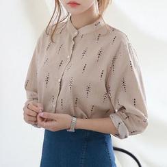 JUSTONE - Mandarin-Collar Pattern Shirt