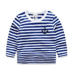 WellKids - Kids Long-Sleeve Embroidery Striped T-Shirt
