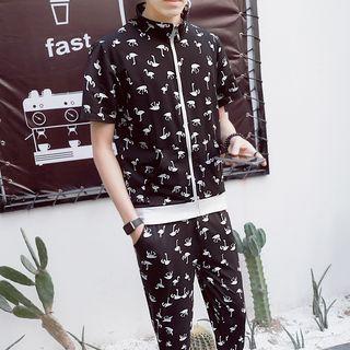 Danjieshi - Set: Flamingo Print Short-Sleeve Zip Jacket + Capri Pants