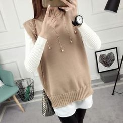 anzoveve - Set: Ribbed Sweater + Embellished High Neck Knit Vest