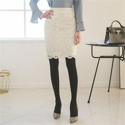 ode' - Semi High-Waist Scallop-Hem Lace Skirt