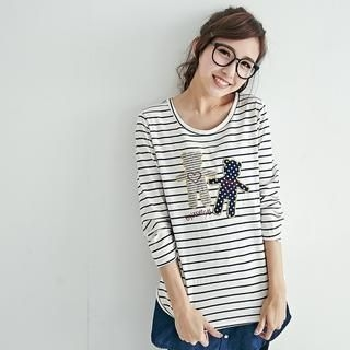 BAIMOMO - Long-Sleeve Bear-Embroidered Striped T-Shirt