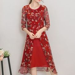Diosa - Floral Print Silk Dress