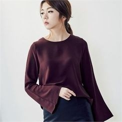 MAGJAY - Key Hole-Back Bell-Sleeve Blouse