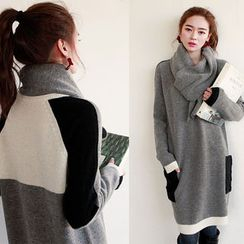 NIPONJJUYA - Color-Block Wool Blend Knit Dress with Scarf