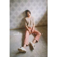 CHERRYKOKO - Wool Blend Tapered Dress Pants