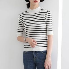 ELLY - Striped Elbow-Sleeve Knit Top