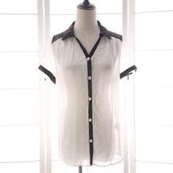 Reine - Short-Sleeve Lace trim Blouse