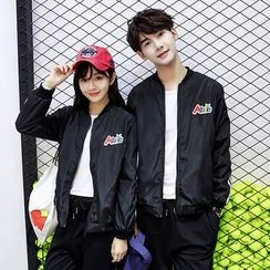 CASSY - Couple Matching Applique Zip Jacket