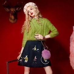 ELF SACK - Set: Cropped Sweater + Sleeveless Embroidered Dress