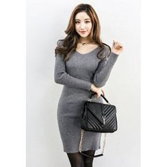 INSTYLEFIT - V-Neck Knit Bodycon Dress