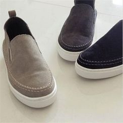 YOOM - Genuine Leather Stitched Slip-Ons