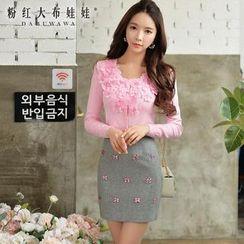 粉紅大布娃娃 - 飾花針織開衫