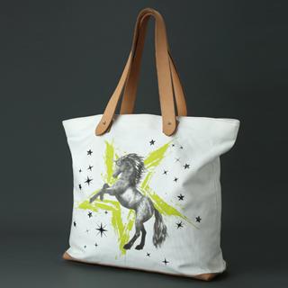 Dreamcoholic - Genuine Leather Handle Unicorn Print Tote Bag